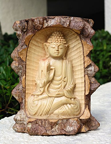 G6 Collection Wooden Serene Buddha Meditating Statue Hand Carved Sculpture Handmade Figurine Decorative Home Decor Accent Rustic Handcrafted Traditional Contemporary Decoration Buddha Crocodile Wood
