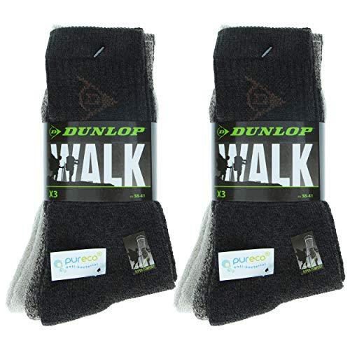 Dunlop 6 Pairs Herren Mid Calf Socken - All Use - Baumwolle - Feuchtigkeitskontrolle (Braun Mix, 39-42)