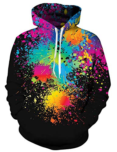 Goodstoworld Paint Splatter Pullover Herren Damen 3D Kapuzenpullover Bunt Druck Langarm Hoodie Sweatshirt Kapuze Gedruckte Top Jungen