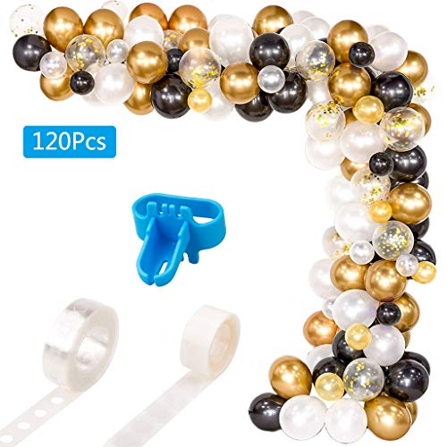 TSBB 120PC Kit de Paquete de guirnaldas de Arco de Globos Globos de látex Blancos, Negros y Dorados Nupcial