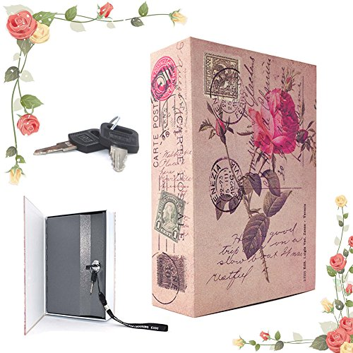 EIOU 7.1 4.72.3 inches Beautiful Rose Locking Book Safe With Key Security Diversion Hidden Book Safe With Strong Metal Case inside safe