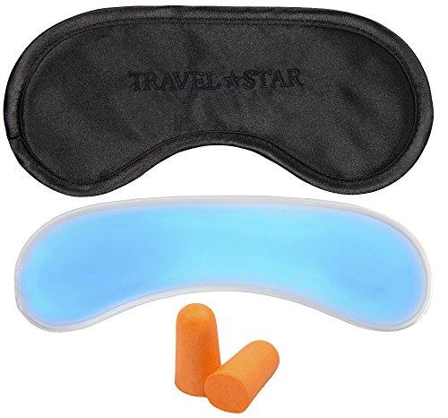 travelstar: Premium-Schlafmaske (schwarz) mit Kühlkissen und Ohrstöpsel - auch als Kühlmaske verwendbar (TS-S-2000)