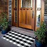 Carvapet Buffalo Checkered Area Rug Black White Checkered Carpet Buffalo Plaid Rugs 27.5x43.3 Inch Runner Indoor and Outdoor Welcome Doormat for Entryway,Porch, Kitchen, Bathroom