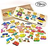 Lewo Puzzle de Madera Juguetes para niñas Familia del Oso Juegos de Vestir para niños con Estuche de Almacenamiento