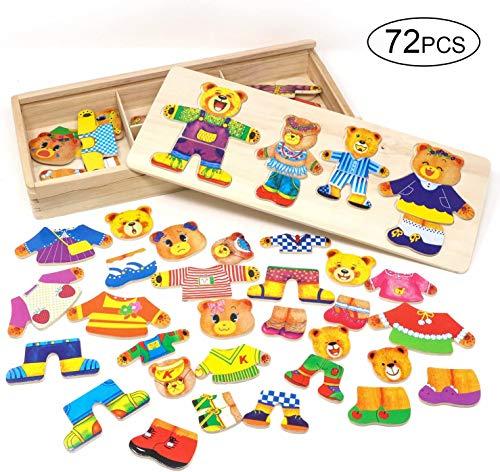 Lewo Holzpuzzles Geometrisches Steckspiel Farben- und Formen Sortierspiel Lernspielzeug für Kleinkind Kinder