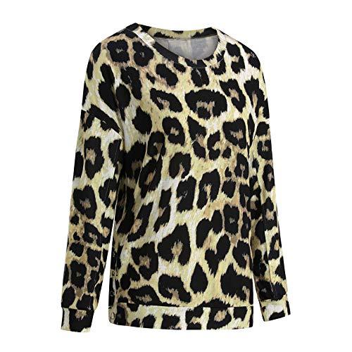 Plantb Moda para mujer Camisas Blusa suelta de leopardo, Blusa informal estampada de manga larga con cuello en...