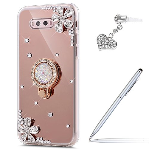 ikasus LG V20 Case,LG V20 Mirror Case, Inlaid Diamond Flowers Slim Luxury Hybrid Rhinestone Diamond Glitter Bling Mirror Back TPU Case with Ring Stand Holder +Touch Pen Dust Plug for LG V20,Rose Gold