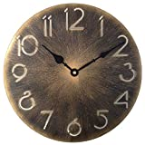 Retro Metal Industrial Wall Clock,12 Inch Round Classic Vintage Iron Wrought Wall Clock Digital Numerals Easy to Read Battery Operated Non-Ticking Decorative Living Room(Antique Gold, 12 inch)