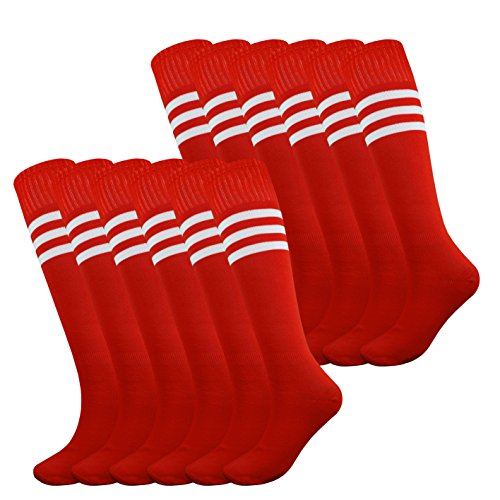 Fitliva Red Tube Socks Striped Stockings Rugby Player Football Team Uniforms with White Stripe(12pairs-Red)