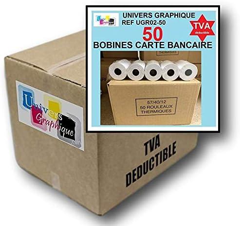 50 Bobine terminal carte bancaire papier thermique 57 x 40 x 12 m papier thermique pour CB 57 x 40 x 12 mm - Rouleaux...