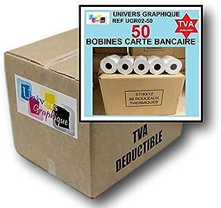 50 Bobine terminal carte bancaire papier thermique 57 x 40 x 12 m papier thermique pour CB 57 x 40 x 12 mm - Rouleaux mach...