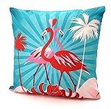 heimtexland ® Outdoorkissen Tropical Dekokissen Lotus Effekt Schmutz- und Wasserabweisend Garten Outdoor Kissen 45x45 Typ688 (Flamingo-Paar)