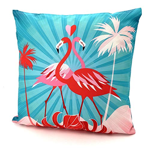 heimtexland  Outdoor Cushion Tropical Decorative Lotus Effect Dirt and Water Resistant Garden Outdoor Cushion 45 x 45 Type 688 (Flamingo Pair)