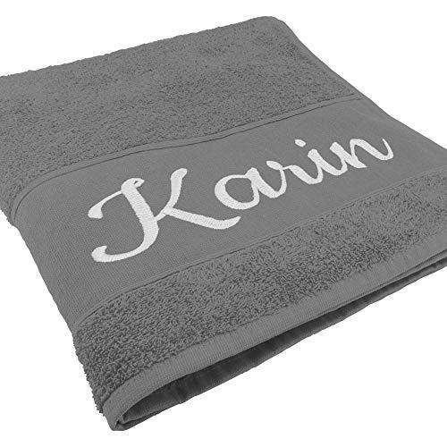 Handtuch mit Namen oder Wunschtext Bestickt, personalisiertes Duschtuch, individuelles Badetuch, 100% Baumwolle, 140 x 70 cm, hellgrau