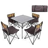 Kaikai Mesa de Picnic, Conjunto de sillas de Mesa Plegable portátil, Mesa de Camping de aleación de Aluminio 4 Oxford Cloth Lounge Silling Garden BBQ Fiesta Set