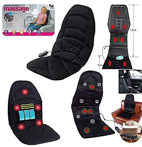 Shiatsu massagestoel met 5 massages, voor rug, hoofdsteun, billen, schouders, heupen en verwarming voor auto of thuis.