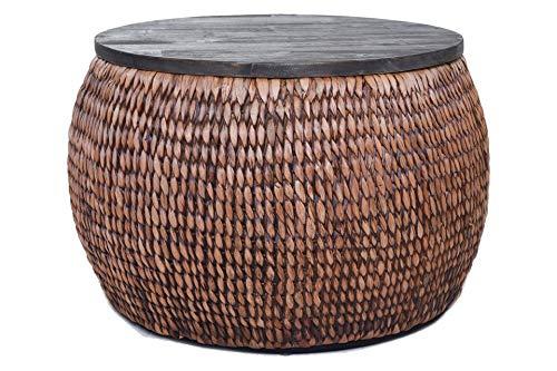Vivanno Tisch rund Fox Wasserhyazinthe mit Holzplatte Ø65cm, Waschbraun