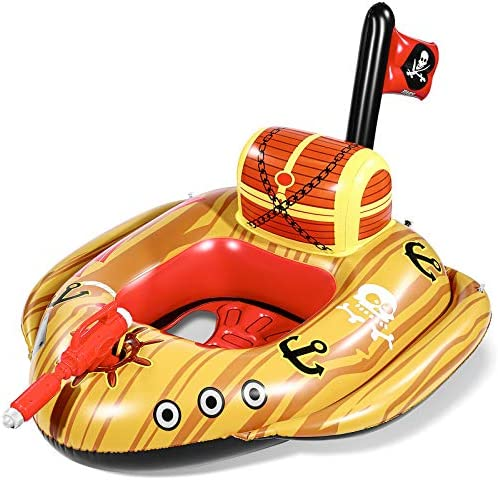 Unomor Giant Inflatable Pool Floats for Kids with Built in Squirt Gun and Pirate Ship Design product image