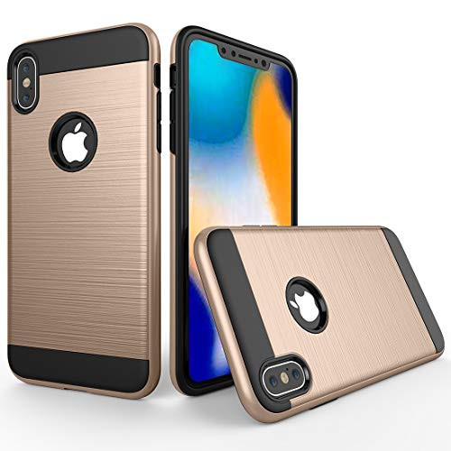 Wdckxy - Funda protectora para iPhone X/XS D0D (textura cepillada, a prueba de golpes, color dorado)