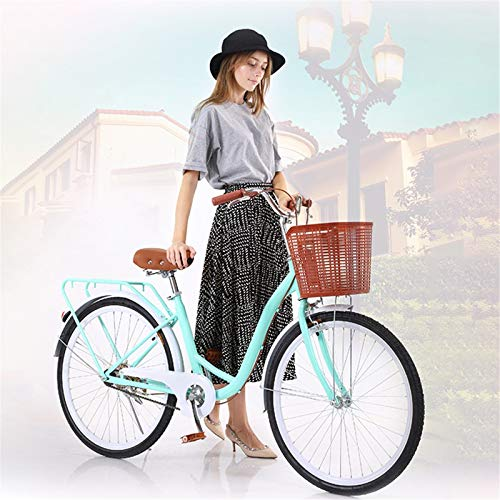 26 Inch Classic Bicycle Retro Bicycle Beach Cruiser Bicycle Retro Bicycle for Women Blue (B) (B)