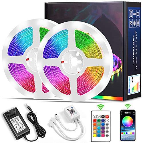 LED Strip, Micacorn 10M 300LEDs RGB LED Streifen SMD5050 Strip Licht Kit mit Bluetooth-Controller Synchronisierung zu Musik für Schlafzimmer Zimmer Wohnküche