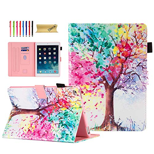 Dteck 10.5' iPad Case for Apple iPad Air 3rd Generation 2019, iPad Pro 10.5' 2017, Slim Folio Shockproof Multi Angle Stand Smart Shell Auto Sleep Wake TPU Back Cover Pencil Holder, Colorful Tree