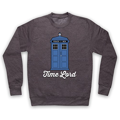 My Icon Art & Clothing Time Lord Tardis Dr Sci Fi TV Show Erwachsenen Sweatshirt, Holzkohle, Small