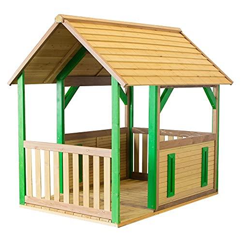 AXI Spielhaus Forest aus FSC Holz | Outdoor Kinderspielhaus für den Garten in Braun & Grün | Gartenhaus für Kinder mit Veranda