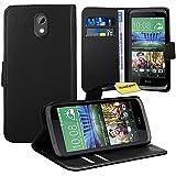 HTC Desire 526G Handy Tasche, FoneExpert® Wallet Hülle Flip Cover Hüllen Etui Ledertasche Lederhülle Premium Schutzhülle für HTC Desire 526G (Schwarz)
