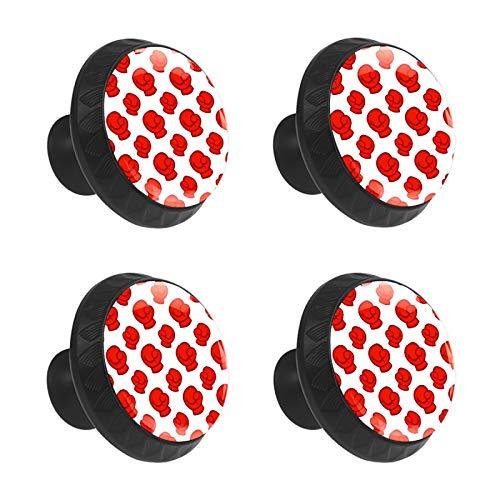 FCZ 4 piezas de guantes de boxeo rojos y blancos para cajón, tiradores de cristal, forma de círculo, tiradores de cajón con tornillos para el hogar, la cocina, la oficina
