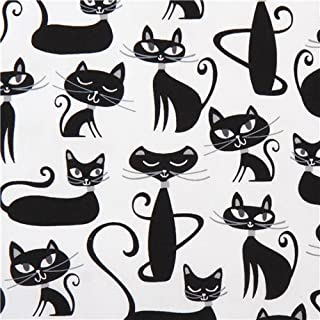 cute white animal fabric by Robin Zingone with black cats with grey whiskers (per 0.5 yard unit)