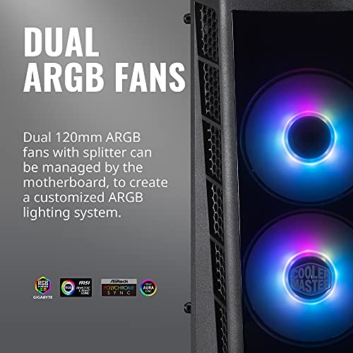 Cooler Master MasterBox MB320L ARGB Micro-ATX with Dual ARGB Fans, DarkMirror Front Panel, Mesh Front Intake Vents, Tempered Glass Side Panel & ARGB Lighting System