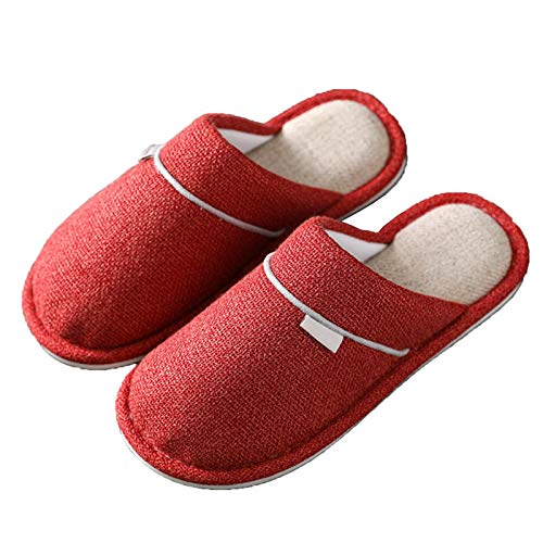 DALLL Winter Hausschuhe Herren Damen,Bequeme Pantoffeln Für, Utschfeste Outdoor/Indoor,Rutschfestes Warmes Material,Rot,5.5/6