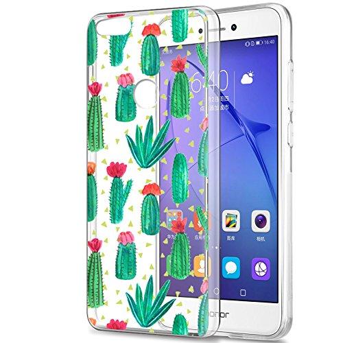 Funda Huawei P8 Lite 2017, Eouine Cárcasa Silicona 3D Transparente con Dibujos Diseño Suave Gel TPU [Antigolpes] de Protector Bumper Case Cover Fundas para Movil Huawei P8Lite 2017 (Cactus)