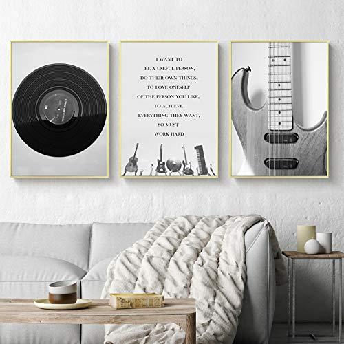 JinYiGlobal Carteles e Impresiones Pintura en Lienzo Decoración para el hogar Arte de la Pared Retro Negro Blanco Guitarra y CD Imagen de música Superior para Sala de Estar 70x95cmx3Pcs Sin Marco