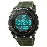 Gosasa Sports Waterproof Digital Fitness Watch Pedometer Multifunction Men's Wristwatches (Green)