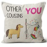 M-Qizi Funny Cousin Throw Pillow Covers, Funny Cousin Gift, Cousin Birthday Gift, 18 x 18 Inch, CousinLinen Cushion Cover for Sofa Couch Bed