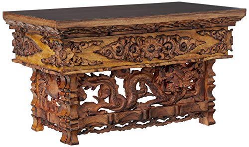 Hand Carved Altar Table Small Meditation Puja Sheesham Wood Unique Dragon (Small)