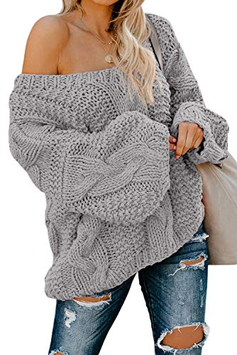 Astylish Women's Chunky Off The Shoulder Loose Fit Oversized Fashion Knit Pullover Sweater Jumper Gray Small