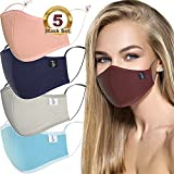 BigSmile 5 Cloth Face Masks for Women Cute Facemask Washable Reusable Breathable