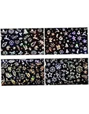 Boze Narodzenie Naklejki Nail Art Glitter 4 Arkusze samoprzylepne Folie do paznokci dla narzedzi akcesoria Nail Art Design Festival Manicure DIY manicure