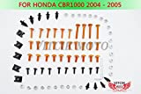 VITCIK Kit Completo de Tornillos y Pernos de Carenado para CBR 1000 RR 2004 2005 CBR 1000 RR 04 05 Clips de Sujeción en Aluminio CNC de La Motocicleta (Naranja & Plata)
