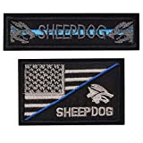 SHELCUP 2 Pieces Tactical USA Flag Patch - Sheepdog Thin Blue line Tactical Morale Patch with Backing Decorative Embroidered