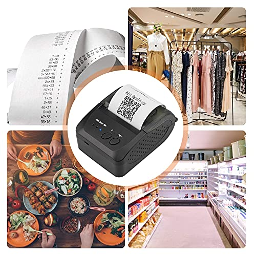 Kacsoo Impresora Térmica 58 mm 90 mm/s Impresora de Recibos 203dpi(8dot / mm) Impresora De Etiquetas 7.4VDC / 2000mA Impresora TéRmica De Etiquetas Bluetooth para Oficina Sistemas Android E iOS