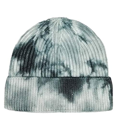 Tie-Dye Knitting Hat Fashion Joker Hat Hip-Hop Dome India Cap Render Cap, Negro