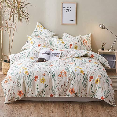 HIGHBUY Floral Print Kids Twin Duvet Cover Sets Cotton Comforter Cover Kids Lightweight Soft Bedding Sets 3 Pieces for Children Girls Bed Collection Zipper Closure 4 Corner Ties