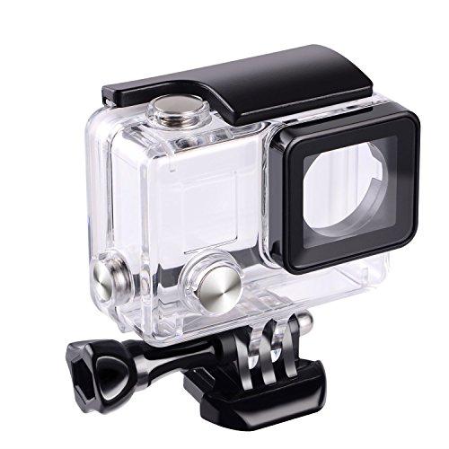 flycoo Schutzhülle Wasserdichte Gehäuse mit Objektiv für Gopro Hero 3+ Hero 4Action Kamera mit Befestigungsschrauben und Basis Schutz Unterwasser 45m