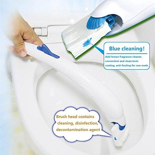 Wuyue Hua Waschmittel, Reinigung, WC-Bürste, Reine Baumwolle, mit 10m-Nachfüllpack, Plastik, Blau, Toilet Brush Suit