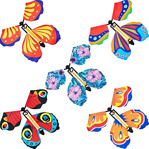 30 Pieces Magic Fairy Flying Butterfly Rubber Band Powered Butterfly Wind up Fairy Butterfly Toy for Surprise Gift or Party Playing