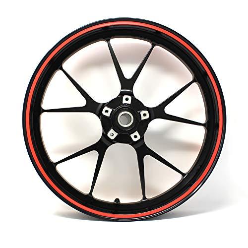 Pegatina para borde de llanta, rayas de 7 mm de ancho, neón, con herramienta de montaje de 16, 17, 18 y 19 pulgadas, accesorio para llantas de coche o moto, color rojo neón